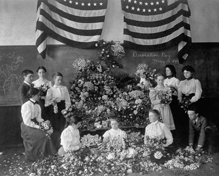 Schoolchildren Gathering Flowers for Memorial Day